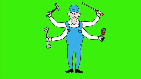 Handyman With Four Hands Cartoon 2D Animation Animation