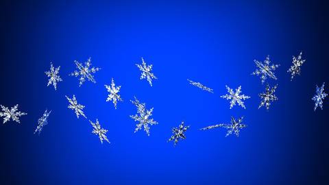 Clear snow crystals on blue background Animation