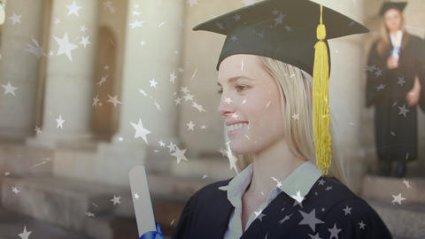 Female wearing graduation gap and grown Animation