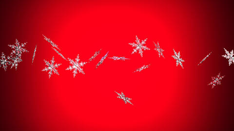 Clear snow crystals on red background Stock Video Footage