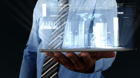 Businessman using digital tablet with binary interface projecting information a Animation