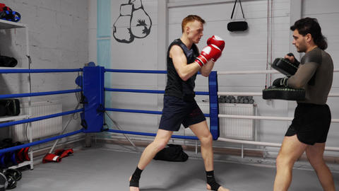 Fit Sportsman Caucasian Boxer Mma Fighter Training Footage