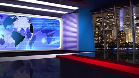 News TV Studio Set 313- Virtual Green Screen Background Loop Footage