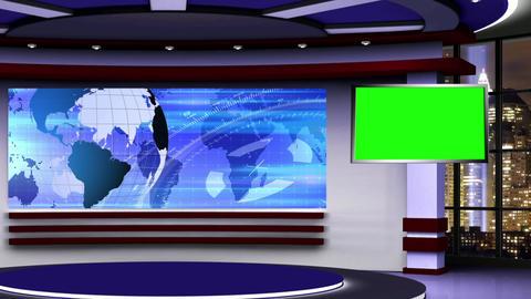 News TV Studio Set 316- Virtual Green Screen Background Loop Footage