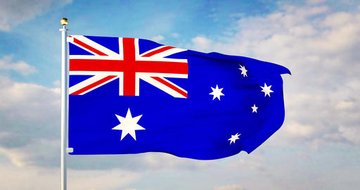 Australian flag waving in the wind shows australia symbol of patriotism - 4k 3d render Animation