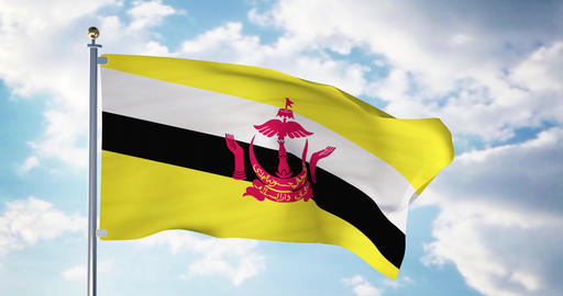 Brunei flag waving in the wind shows bruneian symbol of patriotism - 4k 3d render Animation