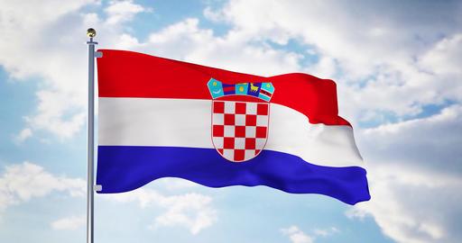 Croatian flag waving in the wind shows croatia symbol of patriotism - 4k 3d render Animation