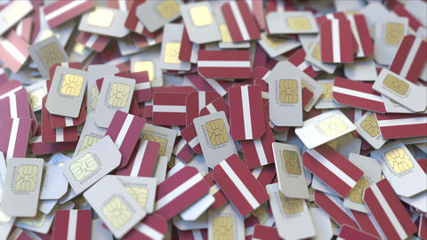Many SIM cards with flag of Latvia. Latvian mobile telecommunications related 3D ビデオ