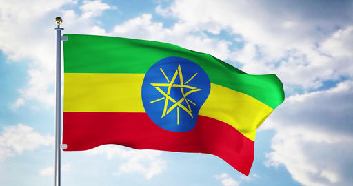 Ethiopian flag waving in the wind shows ethiopia symbol of patriotism - 4k 3d render Animation