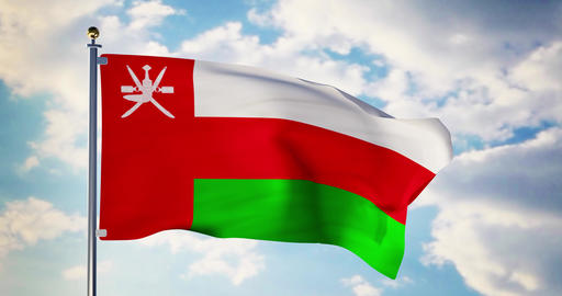 Oman flag waving in the wind shows omanian symbol of patriotism - 4k 3d render Animation