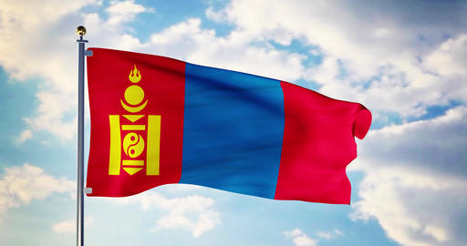 Mongolian flag waving in the wind shows mongolia symbol of patriotism - 4k 3d render Animation
