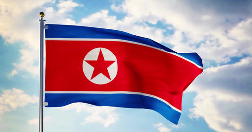 North korean flag waving in the wind shows north korea symbol of patriotism - 4k 3d render Animation