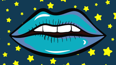 Colorful lips on stars background Animation