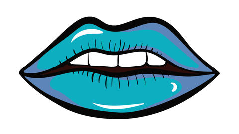 Colorful lips on white background Animation