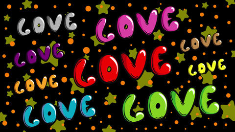 Colorful love words and stars Animation