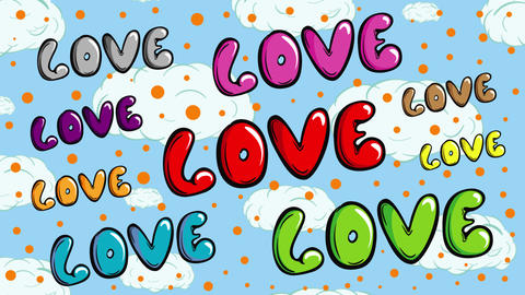 Colorful love words on sky Animation