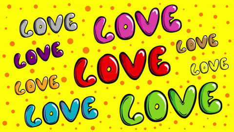 Colorful love words on yellow Animation