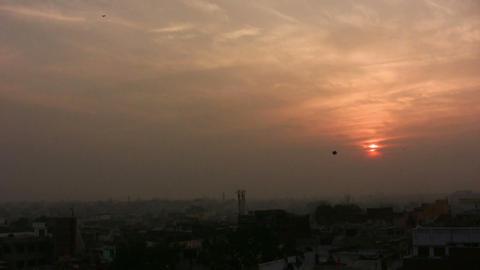Kites and sunset in Varanasi, India Footage