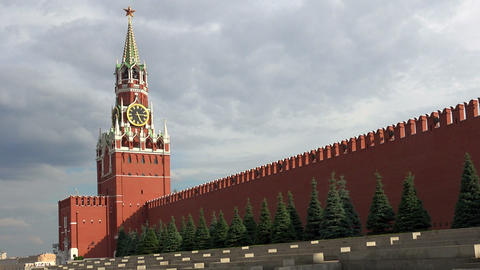 Spasskaya Tower. The view on the Kremlin, Red Square. Moscow Footage