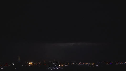 Thunderstorm over night city Live Action