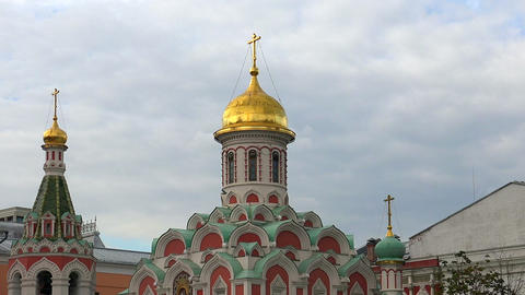 Kazan Cathedral on Red Square in Moscow Footage