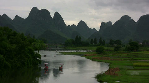 Amazing Yangshuo valley in China Footage