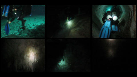 Composition from diving in a caverns Footage