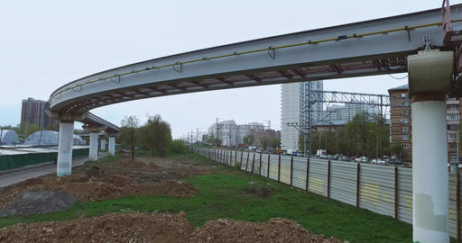 Aerial Moscow Trains Monorail In Motion Footage