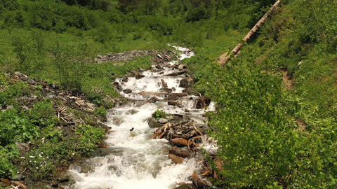 Fast mountain river actively overcoming rocky rapids. Hiking trail along stream. Tourist destination Footage