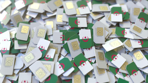 Many SIM cards with flag of Algeria. Algerian mobile telecommunications related ビデオ