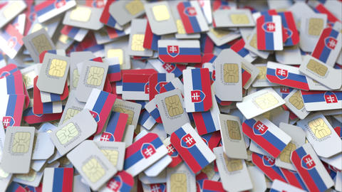 Many SIM cards with flag of Slovakia. Slovak mobile telecommunications related ビデオ