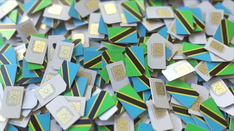 Many SIM cards with flag of Tanzania. Tanzanian mobile telecommunications ビデオ