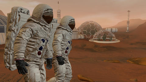 Two Astronauts Walking On The Surface Of Mars Footage