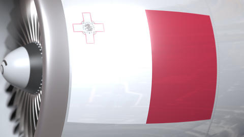 Flying flag of Malta on airplane tourbine engine. Aviation related 3D animation Live Action