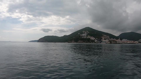 View of the sea and Montenegro from a pleasure boat Footage
