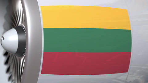 Waving flag of Lithuania on airliner tourbine engine. Aviation related 3D Live Action