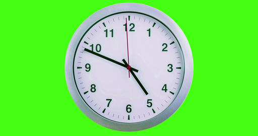 h24 hours timelapse seamless loop ready, clock hands movement, modern white metallic alarm wall Footage