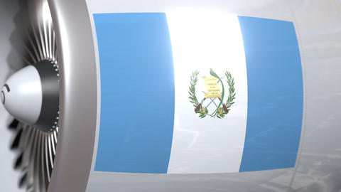 Waving flag of Guatemala on airliner tourbine engine. Aviation related 3D Footage