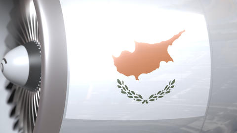 National flag of Cyprus on airliner tourbine engine. Aviation related 3D Footage
