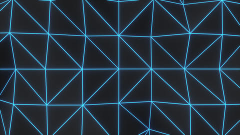 0927 Dark low poly displaced surface with blue glowing lines Footage