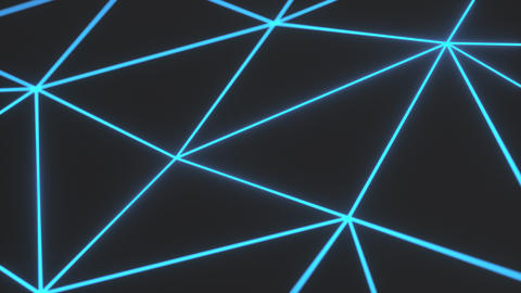 0929 Dark low poly displaced surface with blue glowing lines Footage