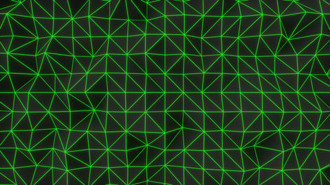 0931 Dark low poly displaced surface with green glowing lines Footage