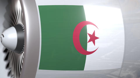 National flag of Algeria on airplane tourbine engine. Aviation related 3D Footage