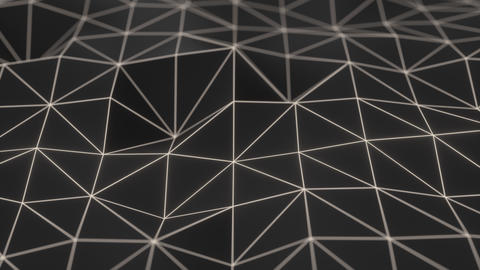 0938 Dark low poly displaced surface with white glowing lines Footage