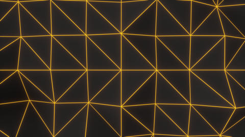 0942 Dark low poly displaced surface with orange glowing lines Footage