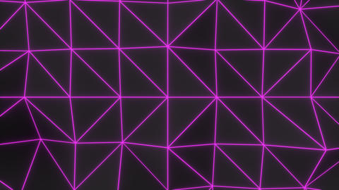 0947 Dark low poly displaced surface with purple glowing lines Footage