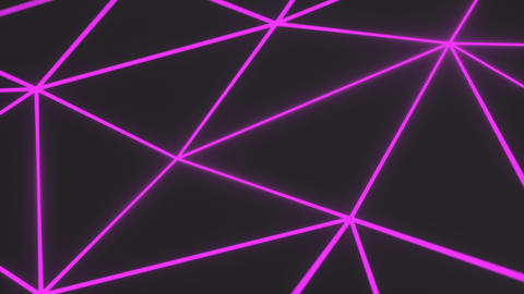 0949 Dark low poly displaced surface with purple glowing lines Footage