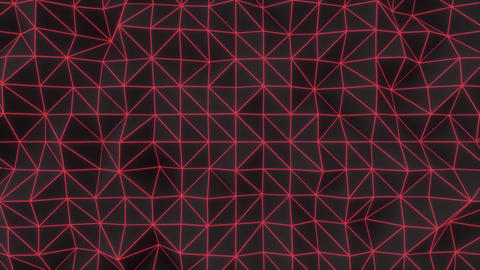 0951 Dark low poly displaced surface with red glowing lines Footage