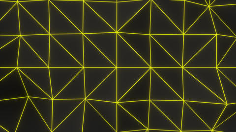 0957 Dark low poly displaced surface with yellow glowing lines Footage