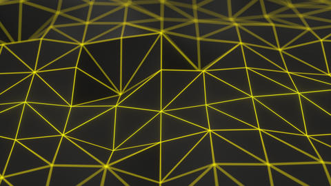 0958 Dark low poly displaced surface with yellow glowing lines Footage